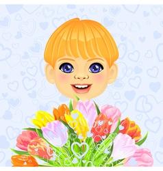 smilingl little boy with a big bouquet vector image