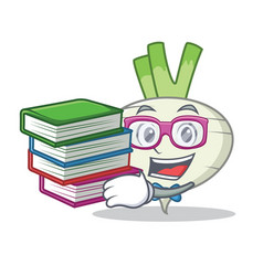 Student with book turnip mascot cartoon style vector