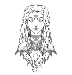 Stylish beautiful young girl with long curly hair vector