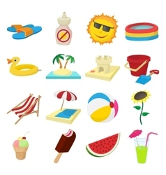 summer icons set cartoon style vector image