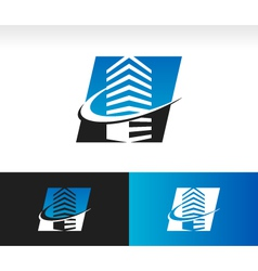 Swoosh Modern Building Logo Icon vector image