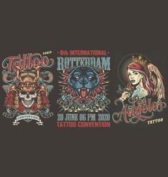 tattoo festivals vintage posters set vector image