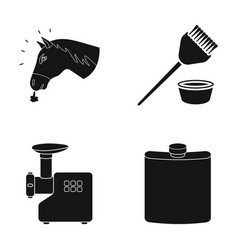 The head of a horse a brush and other web icon in vector