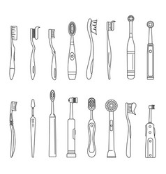 toothbrush dental icons set outline style vector image