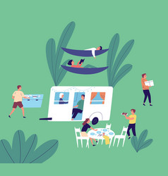 tourists resting at camping area flat vector image