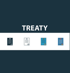 Treaty icon set four elements in diferent styles vector
