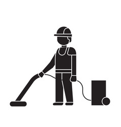 vacuum cleaning black concept icon vacuum vector image
