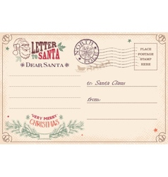 Vintage letter to Santa Claus postcard vector image