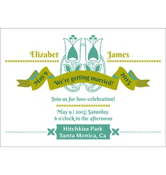 Wedding Invitation Card - Flower Theme vector image