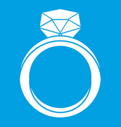 Wedding ring icon white vector