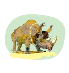 Wild rhino men evolution vector