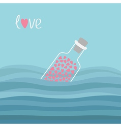 Wine bottle with hearts inside in the ocean sea vector image vector image