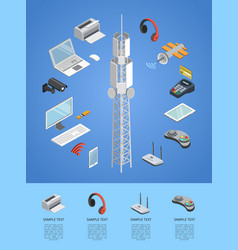 wireless technologies isometric 3d infographics vector image