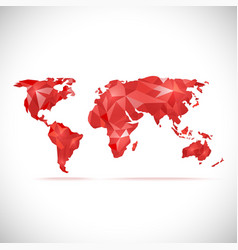 World Map polygonal precision low-poly red vector