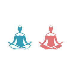 yoga logo man sitting in lotus position symbol vector image