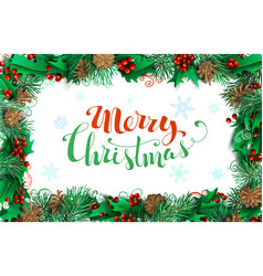 christmas horizontal frame of branches with pine vector image vector image