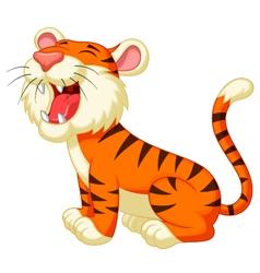 Cute tiger cartoon roaring vector image vector image