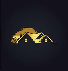 house gold tree garden logo vector image