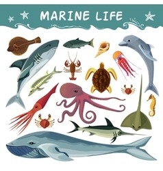 Marine Inhabitants Decorative Icons Set vector image