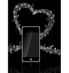 mobile phone with music notes vector image vector image