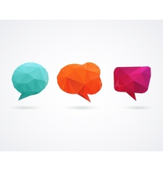 Polygonal geometric 3D speech bubbles set vector image vector image