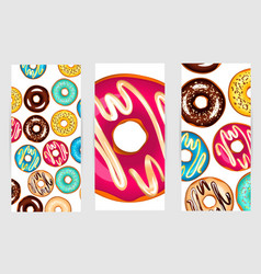 a set of three posters of donuts vector image