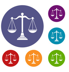 Balance scale icons set vector
