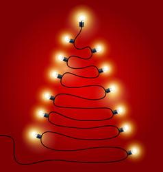 christmas lights shaped as christmas tree vector image