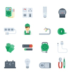 Electricity Icon Flat Set vector image