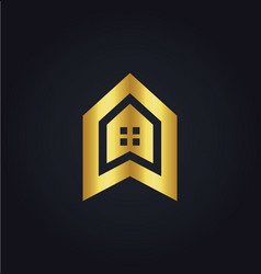 house icon building gold logo vector image