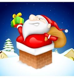 Santa entering through Fire Pipe vector image vector image
