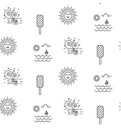 summer beach line icon seamless pattern vector image