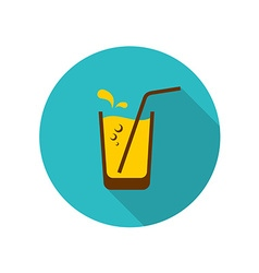 Glass of orange juice with straw bubbles and water vector image vector image
