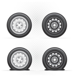 inflated and deflated wheel vector image vector image