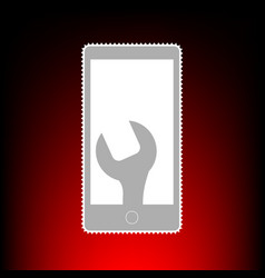 phone icon with settings vector image
