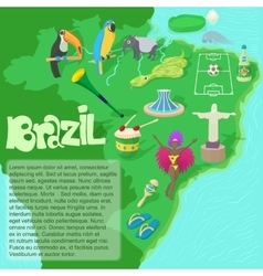 Brazil map concept cartoon style vector image