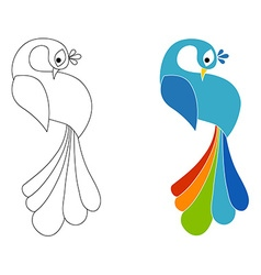 Peacock coloring page Isolated vector image vector image