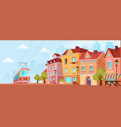 sunny historical city street old city banner with vector image vector image