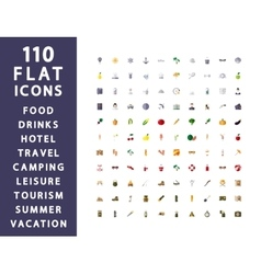 110 flat icons Traveling camping hotel vector image