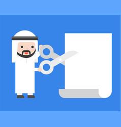 arab businessman holding scissors to cut paper vector image