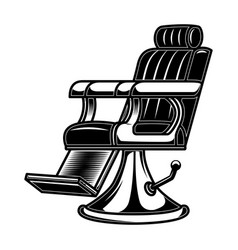 Barber shop chair in engraving style design vector