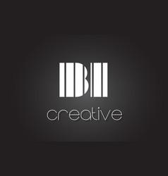 bi b i letter logo design with white and black vector image