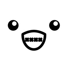 black and white kawaii emoticon face vector image