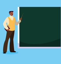 Black teacher with chalkboard vector
