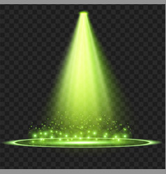Bright green magical spot light with particles vector