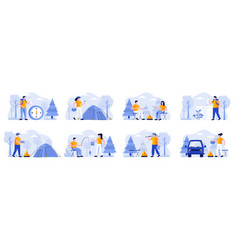 camping scenes bundle with people characters vector image