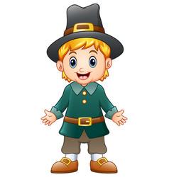 cartoon boy pilgrim vector image