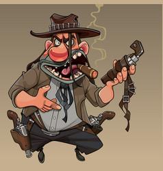 Cartoon cool man cowboy with revolvers and cigar vector