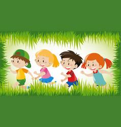 children running in grass frame vector image