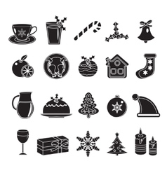 Christmas black silhouette icons set of vector